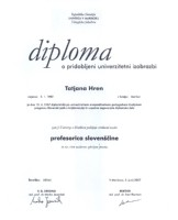 diploma lektorice Tatjane Hren